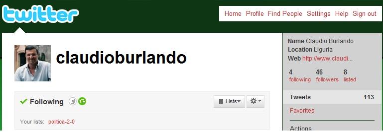 Burlando twitter elezioni regionali 2010