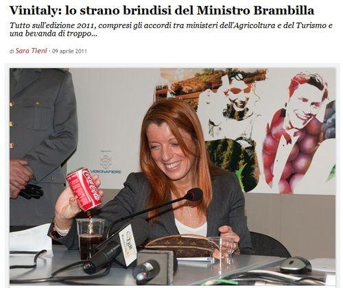 Vinitaly  lo strano brindisi del Ministro Brambilla